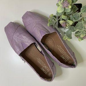 TOMS lavender metallic flats